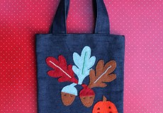 Childs Autumn Leaves and Acorns Tote Denim Felt Bag
