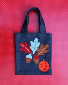 Childs Autumn Leaves and Acorns Tote Denim Felt Bag
