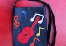 Messenger Musical Notes Denim Bag