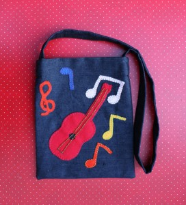 Messenger Musical Notes Denim Bag