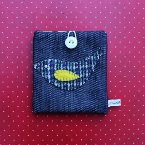 Small denim with bird applique wallets