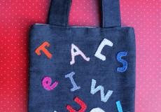 Child's Alphabet Letters Denim Tote Bag