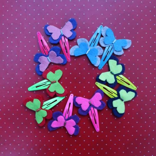 Set of butterfly hair felt pins
