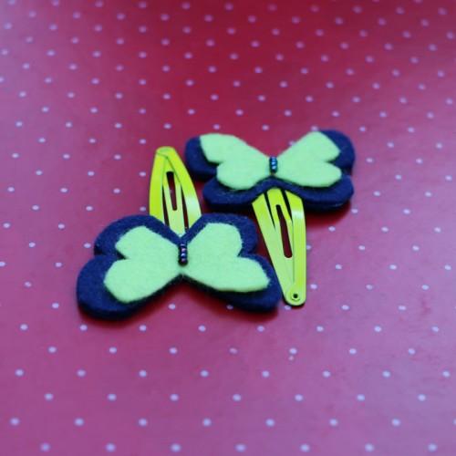Dark Blue Felt Butterflies Hair Pins