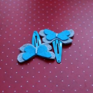 Light Blue Felt Butterflies Hair Pins
