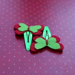Red Felt Butterflies Hair Pins