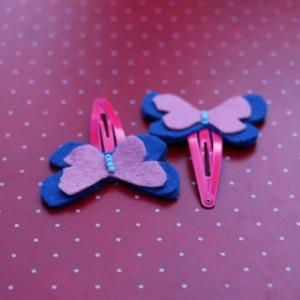 Blue Felt Butterflies Hair Pins