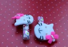 Hello Kitty Style Felt Hair Pins