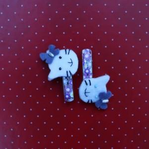 Lilac hello kitty felt hair pins